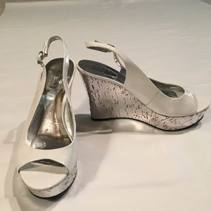 Guess White Patent Wedge Sandal